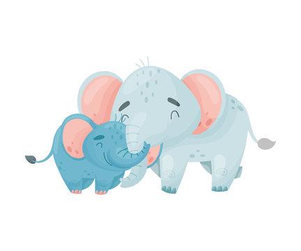 Two elephants. Vector illustration on white background.