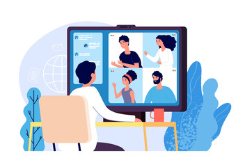 Video conference. People group on computer screen taking with colleague. Video conferencing and online communication vector concept. Illustration of communication screen conference, videoconferencing