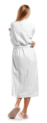 Wall Mural - Beautiful young woman in bathrobe on white background, back view