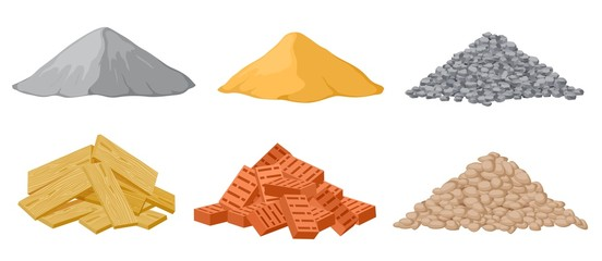 Construction material piles. Gypsum and sand, crushed and stones, red bricks and wooden planks heaps isolated vector set. Industrial plywood, panel and pile of bricks and sand illustration