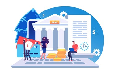 Online bank agreement. Loan contract, online bill payment vector concept with tiny people, bank building, credit card and money. Illustration of e-banking payment, online banking - fototapety na wymiar