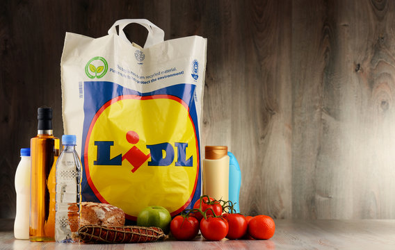 Original Lidl plastic shopping bag and products