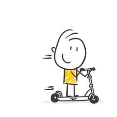 Strichfiguren / Strichmännchen: E-Scooter, E-Roller, Tretroller. (Nr. 430)