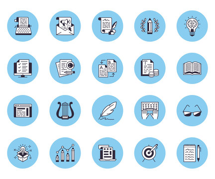 Copywriting flat line icons set. Writer typing text, social media content, e-mail newsletter, creative idea, typewriter vector illustrations