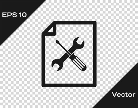 Grey File document with screwdriver and wrench icon isolated on