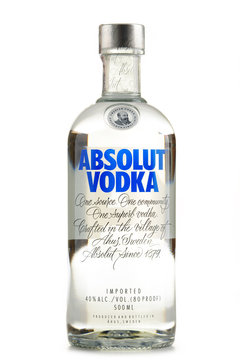 Bottle of Absolut Vodka isolated on white