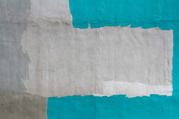 Colorful (gray, turquoise and white) concrete wall as background, texture Wall mural