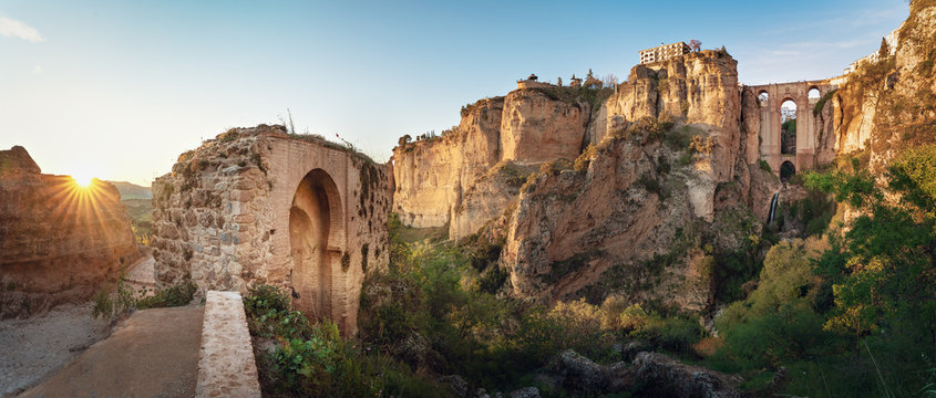 Panoramic view of Ronda Puente Nuevo Bridge at sunset - Ronda, Malaga Province, Andalusia, Spain