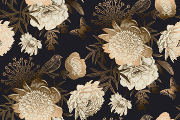 Peonies, bird and butterflies. Luxury seamless pattern.