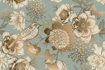 Foto auf Gartenposter Botanisch Seamless pattern with peonies, bird and butterflies. Vintage.
