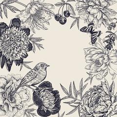 Blooming peonies, berries, birds and butterflies. Vintage frame.