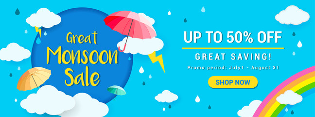 Great Monsoon Sale Banner Vector Illustration. rainy season promotion Fotobehang