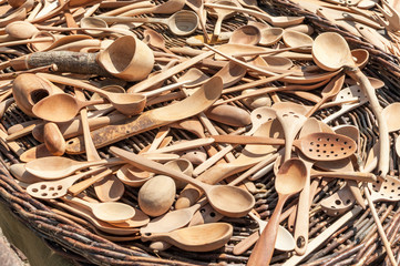 Traditional carved wooden spoons