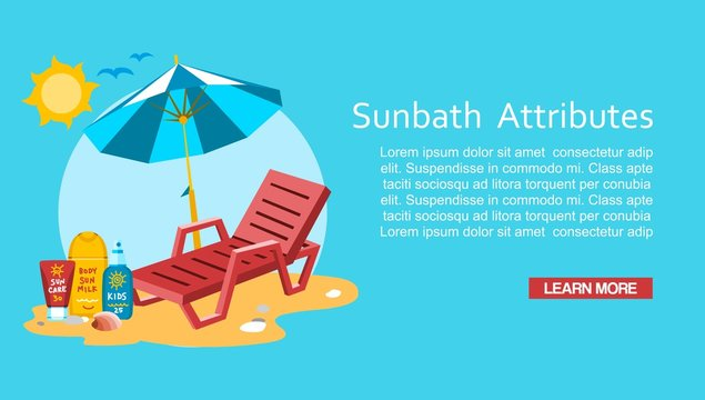 Sunbath summer time holiday vacation vector illustration. Sun safety tips and sunburn remedies concept, sun protection lotion, sunbahing chair and beach umbrella flat cartoon character design.