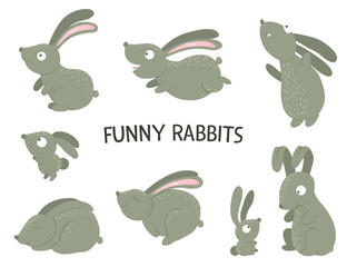 Vector set of cartoon style flat funny rabbits in different poses. Cute illustration of woodland animals. Collection of hares for children's design..