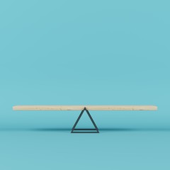 3d render outstanding wooden seesaw with blue background. minimal concept
