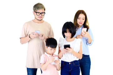 Asian family using smartphone