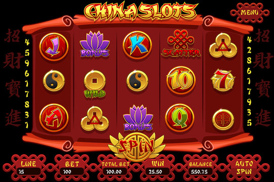 China Casino slot machine game and icons. Vector complete Interface Slot Machine and buttons on separate layers. Chinese characters representing good luck and fortune