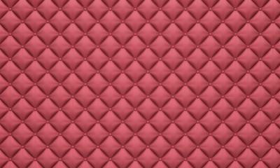 Deurstickers Leder Pink diamond leather buttoned upholstery background texture, 3d render