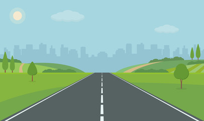 Foto auf AluDibond Pool Road To City. Straight empty road through the meadow. Summer landscape vector illustration.