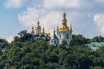 View of the Kyiv-Pechersk Lavra on a sunny summer day, Kiev, Ukraine. Historical and cultural reserve – UNESCO object in Ukraine