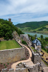 View of Reichenstein Castle on Rhine river