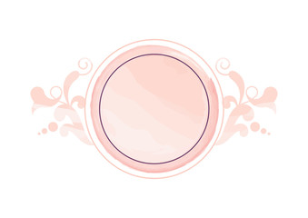 Watercolor Nude Floral Logo vector. Round watercolor logo isolated on a white background. Delicate feminine logo icon. Pink round logo vector
