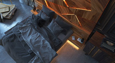 Bedroom in vintage apartment with wooden walls and soft lighting, with double bed and elegant backlit wooden headboard, empty, with canvases and paintings, atelier, 3d rendering, 3d illustration