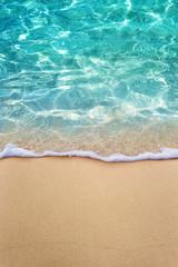 Fototapete - Soft blue ocean wave or clear sea on clean sandy beach summer concept