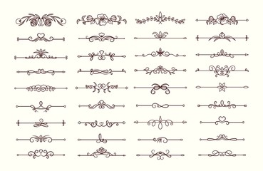 Vintage text dividers collection. Ornate floral decorative elements vector set