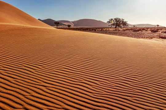 Scenic view of sand dunes at Sossusvlei, Namibia, Africa