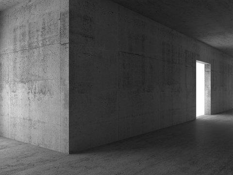 Corner and door. Abstract empty 3d room