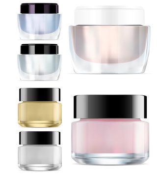 Glass Cosmetic Jar mock up. Round Glossy Cream Packaging. Makeup Products Clear Container. Vector Package Blank for Face and Skin Care. Empty jars Set with Plastic Cap for Scrub