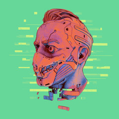 Surreal hand drawn digital illustration of a cyborg head in futuristic scary mask with teeth. Vintage sci-fi creative soldier concept artwork. Cyberpunk robot man with damaged neck on green background