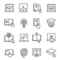 Online education line icons set. Black vector illustration. Editable stroke.