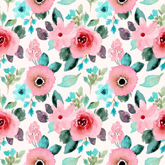 Poster Bloemen pink mint floral watercolor seamless pattern