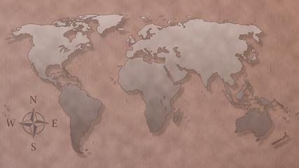 antique world map outline
