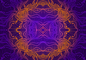 Vintage psychedelic tryppi colorful fractal pattern. Gradient neon violet, orange, pink colors. Vectore decorative surreal mandala with maze of ornament shamanic fantasy texture.