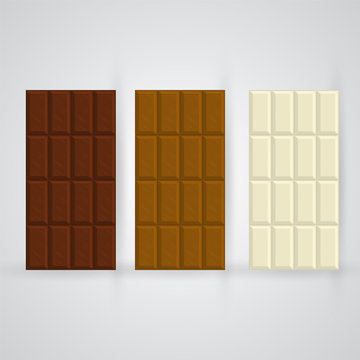 Chocolate bar vector set. Delicious brown dessert in rectangular blocks for posters, banners, package decoration. Tasty sugary food in white, milk and dark chocolate color with copy space for branding