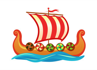 Drakkar - Scandinavian longship of Vikings. Vector colorful Cartoon icon illustration for Travel tour agency and decoration of history event.