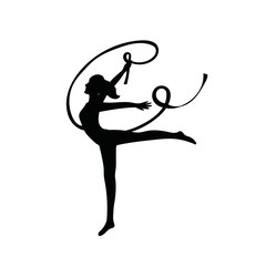 Gymnast woman lithe build with ribbon black silhouette.