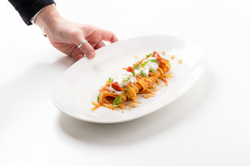Portion of spaghetti with tomato and burrata cheese on white background