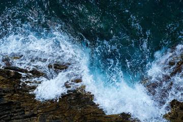 Ocean sea water wave blue background. Aerial view Wall mural