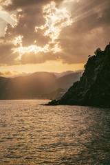 Wall Mural - Nature landscape at sunset. Liguria coast at Cinque Terre