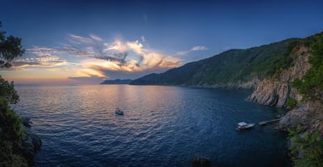 Wall Mural - Nature sea landscape at Cinque Terre, Liguria seascape, Italy at sunset