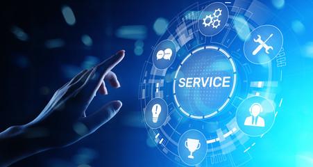 Service support customer help call center Business technology button on virtual screen.