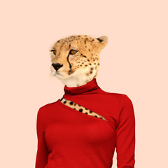 Leopard with the slim female body in red clothes. Feminine, wild nature. Negative space to insert your text. Modern design. Contemporary art collage. Concept of beauty of nature and animals.