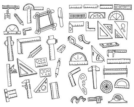 Set of Ruler Drawing illustration Hand drawn doodle Sketch line vector eps10