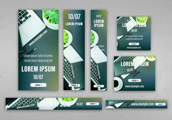 Web Banner Set with Laptop Images