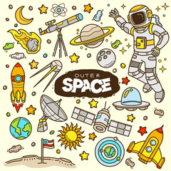 Outer space related objects and elements collection. Hand drawn vector doodle illustration in color.